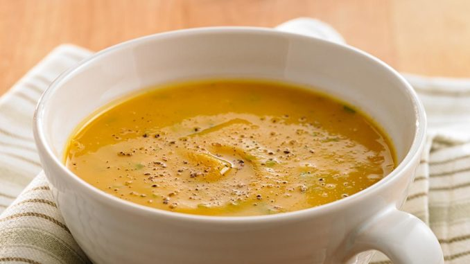 Spicy Butternut Squash Soup with Roasted Red Pepper and Carrot