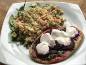 Beetroot and Mozzarella Naan Bread Pizza Recipe