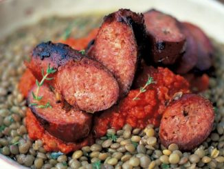 Italian Sausages & Puy Lentils with a Tomato Salsa Recipe