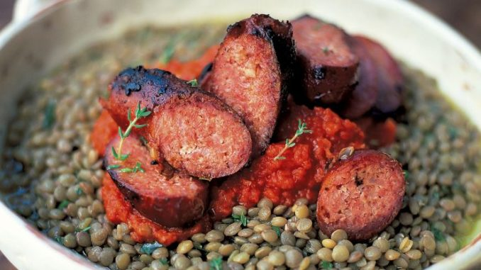 Italian Sausages & Puy Lentils with a Tomato Salsa